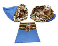 Marysa Spací pytel 3v1 fleece XL modrá/leopard 60x75 cm